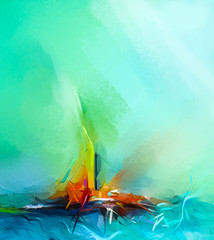 Abstract colorful oil painting on canvas texture. Semi- abstract image of landscape paintings background. Modern art oil paintings with green, red and blue. Abstract contemporary art for background