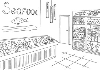 Grocery store graphic seafood fish shop interior black white sketch illustration vector
