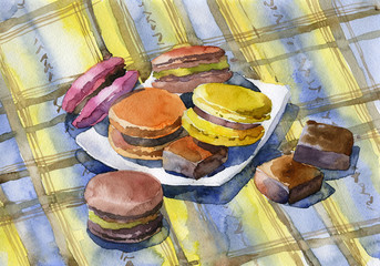 Delicious, healthy, beautiful dessert. Confectionery product macaroons. Colored, mouth-watering cookies. Illustration. Watercolor