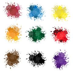 Vector set of colorful ink splashes, ink blots. Splatter collection.