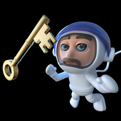 3d Funny cartoon spaceman astronaut character chasing a gold key in space