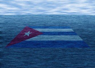 Travelling to Cuba. Realistic illustration of sea and clouds, Cuba flag.