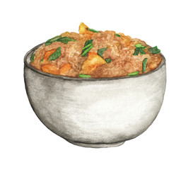 Fried rice with egg and green onion in bowl, Chinese food isolated on a white background. Watercolor illustration