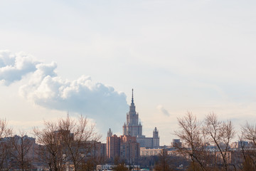 Lomonosov Moscow State University building in Moscow on Sparrow Hills are built in 1949-1953