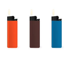 Set of multi-colored lighters. Gas combustion. Vector illustration.