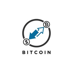 bitcoin and blockchain logo vector illustrations