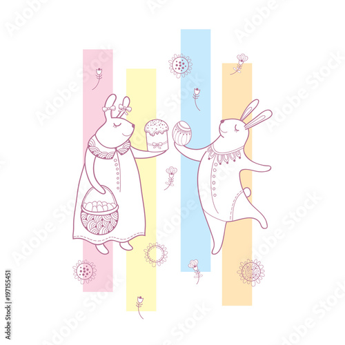 Vector easter greeting card with outline rabbit couple traditional vector easter greeting card with outline rabbit couple traditional easter symbol and stripes in pastel m4hsunfo