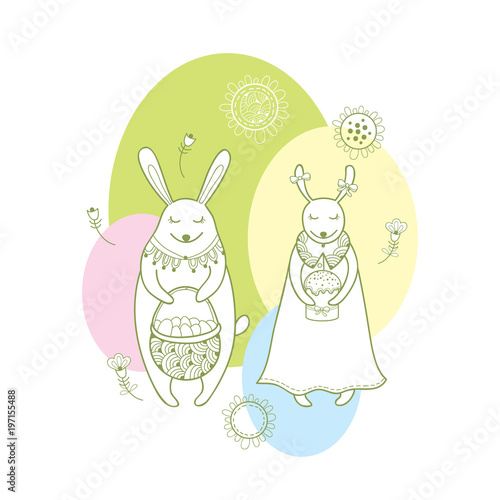 Vector happy easter greeting card with outline rabbit couple and vector happy easter greeting card with outline rabbit couple and traditional easter symbol in pastel color m4hsunfo