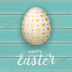 Happy Easter Egg Hearts Turquoise Planks Cover