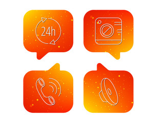 Phone call, 24h service and sound icons.