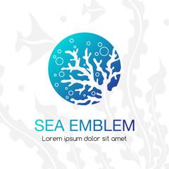 Sea emblem. Underwater tropical life icon. Sign for oceanarium, aquarium or travel company.