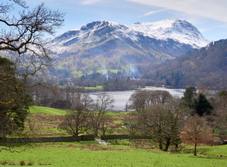 Snow covered mountains of Fairfield and St Sunday Crag in the Lake District, England, UK.