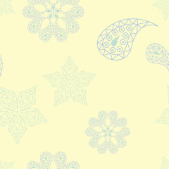 Seamless background with floral pattern. Beige background with light blue and green flower elements
