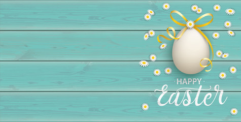 Happy Golden Easter Eggs Daisy Wooden Turquoise Header