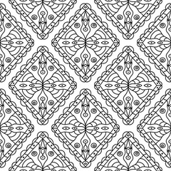 White and black monochrome geometric print. Seamless pattern