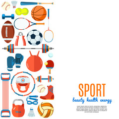 Banner of sport balls and gaming equipment. Background for promotional posters, advertising flyers, brochure or booklet, discount banners, sale. Healthy lifestyle tools. Vector Illustration.