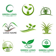 Tree logo set,People logo set,green eco logo,Vector logo template