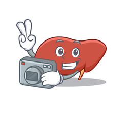 Photographer liver mascot cartoon style