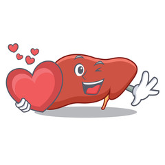 With heart liver mascot cartoon style