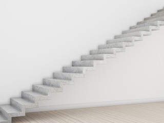 3d rendering of white room with concrete stair on plank wood floor and sun light cast on the wall Fototapete