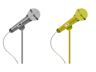 Vector illustration. Microphones silver and golden isolated on white background.