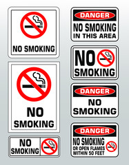 NO SMOKING prohobition forbidden sign set vector illustration. Warning, danger, no open flames within 50 feet, no smoking in this area