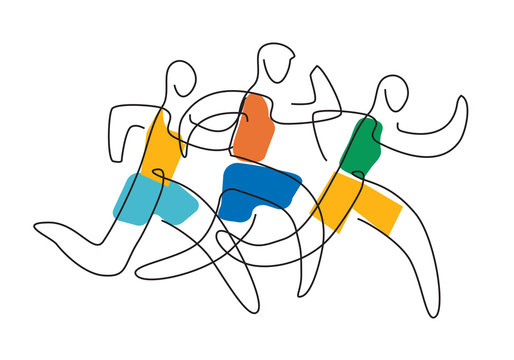 Running race, line art. 