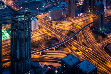 Complex highway interchange on Dubai highway at night