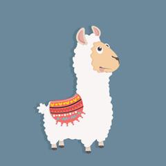 Cute funny alpaca  fluffy