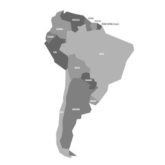 Very simplified infographical political map of South America in grey colors. Simple geometric vector illustration.