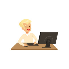 Smiling boy using computer, informatics lesson at school vector Illustration on a white background
