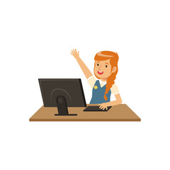 Smiling girl using computer at informatics lesson at school vector Illustration on a white background