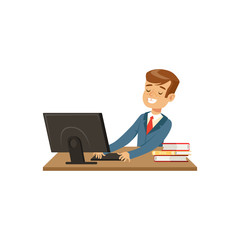 Smiling schoolboy using laptop computer vector Illustration on a white background