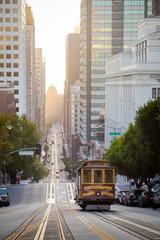 San Francisco Cable Car on California Street at sunrise, California, USA