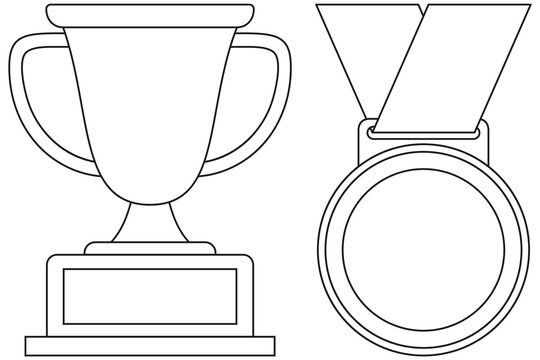 Line art black and white winner cup medal icon set