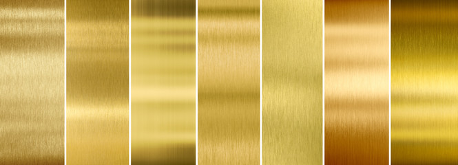 Seven various brushed gold metal textures set Wall mural