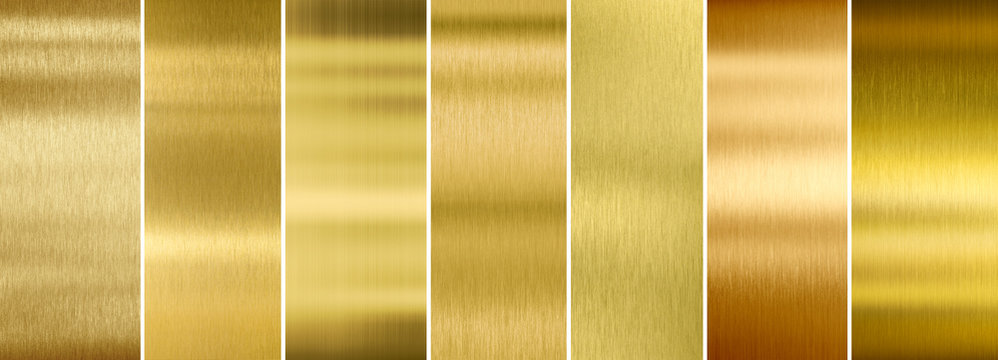Seven various brushed gold metal textures set
