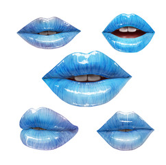 Blue lips collection. Mouth set. Vector lipstick or lip gloss 3d realistic illustration. Fashion style