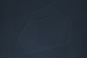 Abstract geometric background in dark tones from sheets of thick blue paper, cardboard.