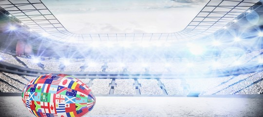 Composite image of rugby world cup international ball