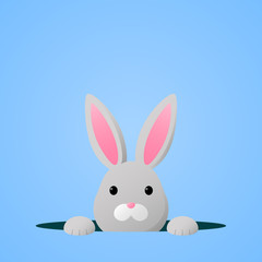 Cute easter bunny on blue background