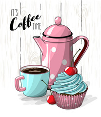 Cupcake with blue cream and cherry, cup of coffee and pink tea pot on simple white wooden texture, illustration