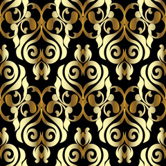 Damask vector seamless pattern. Black gold floral background. Baroque wallpaper. Surface flowers, branches, scroll leaves, antique medieval baroque ornaments in Victorian style