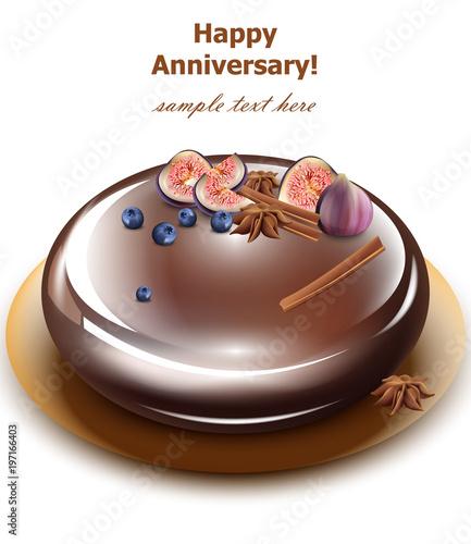 Happy Anniversary Cake Vector Sweet Birthday Dessert Mirror Glaze