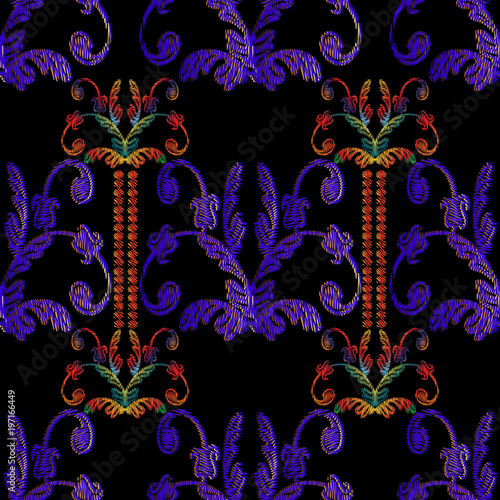 Vintage vector background. Abstract grunge wallpaper. Floral tapestry ornaments with embroidered baroque flowers, scroll leaves, vertical border stripes.
