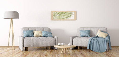 Living room with two armchairs 3d rendering