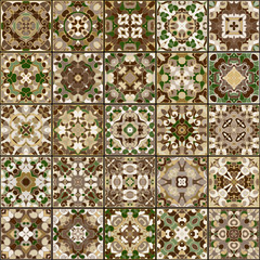 A collection of different ceramic tiles in retro colors. A set of square patterns in ethnic style. Vector illustration.