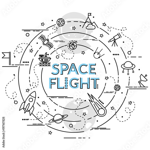 flat colorful design concept for space flight infographic idea of