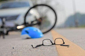 Accident car crash with bicycle on road Wall mural