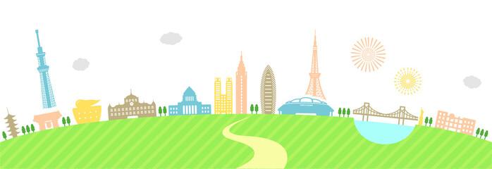 tokyo landscape colorful illustration